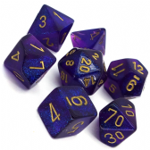 Purple & Gold Borealis Polyhedral 7 Dice Set